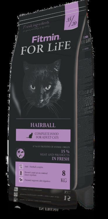 гиря чугунная 20 кг в Кыргызстан: Fitmin For Life Hairball корм для длинношерстных кошек 1,8 кг