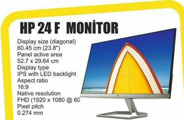 acura tlx 24 dct - Azərbaycan: Original Hp 24f ips Led Monitor 1920 x 1080 full hd, Hdmi ve Vga