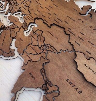 Карта мира из дерева в Бишкек
