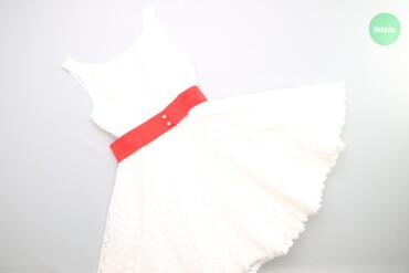 Жіноча біла ажурна сукня з червоним паском, М    Колір білий Розмір М