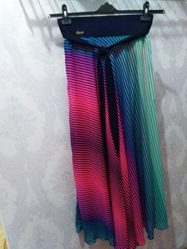 Летняя юбка с подкладом, широкий пояс на резинки 8см,длина юбки 1метр