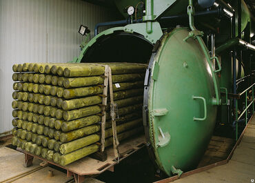 Автоклав для глубокой пропитки (импрегнации) древесины оборудован