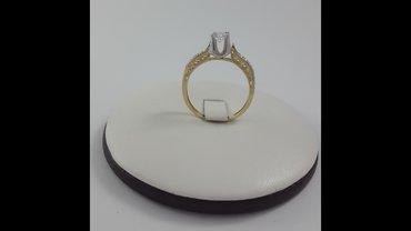 кольцо из жёлтого золота 585 проба. размер 18. 0. с цирконами. в Бишкек