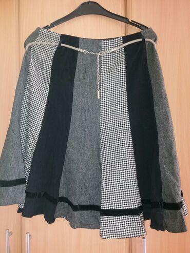 Suknja duzina - Srbija: Suknja crno-siva od raznih stofova vel.42  Suknja za jesen/zimu, posta