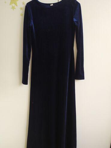 Продаю платье велюр, темно синее, на 44-46 размер. Носила один раз,не