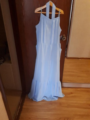 платье из шифона в Кыргызстан: Платье из плотного шифона, небесно-голубого цвета. На тонких