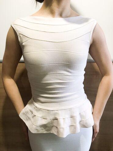 Двойка бандажная- топ с баской и юбка. Топ бежевый- размер s. Юбка