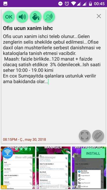Bakı şəhərində Ofis ucun xanim ishci teleb olunur...Gelen zenglerin selis shekilde