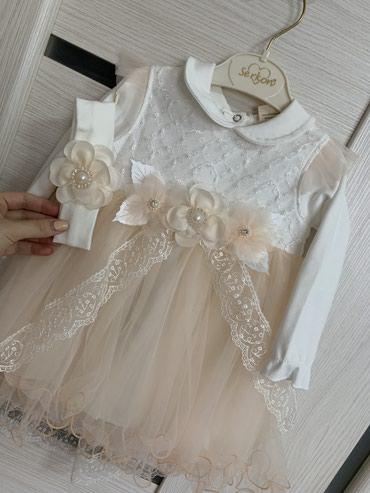 Белое платье со светло-розовой в Бишкек