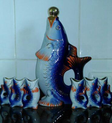 НОВЫЙ советский коньячный набор Рыбки. Полный комплект, упаковка