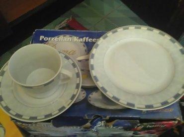 set 6 solja 6 tacni i 6 tanjirica za desert.porcelan.cena 2500din.novo - Smederevo