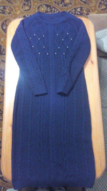 вязаное платье большого размера в Кыргызстан: Синее вязаное платье,размер М. Состояние отличное. Цена 500 сом