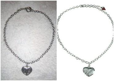Guess-tasna-o-do - Srbija: Ogrlica srce u boji srebra. Nikad nosena. Jako slicna popularnim Guess