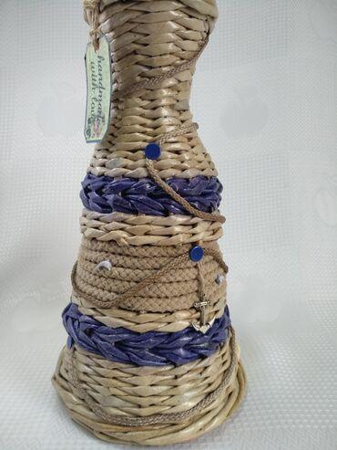 Вазы - Кыргызстан: Ваза плетеная из бумажной лозы в морском стиле, ручной работы