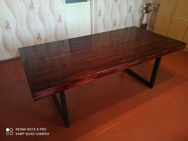 габариты прикроватной тумбочки в Кыргызстан: Стильный обеденный стол, выполнен в современном стиле лофт
