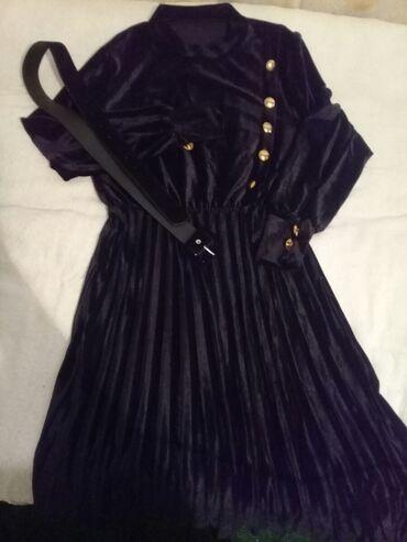 Вечернее платье ниже колен королевский бархат размер 46 48 одета один