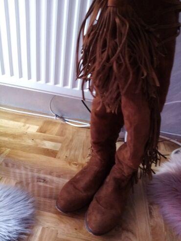Cizme 40 - Srbija: Antilop jako tople cizme,iznad kolena. Sa malim ostecenjem napred vidi