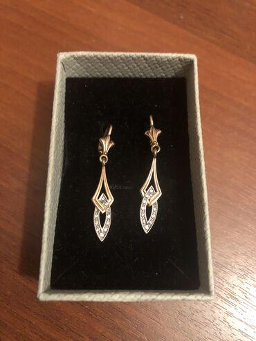 Золотые серьги, Россия 585, бриллианты (россыпь), 18000сом