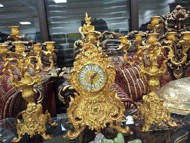 Канделябры с часами, бронза, Иран. Вес 15,2 кг (3 предмета) высота
