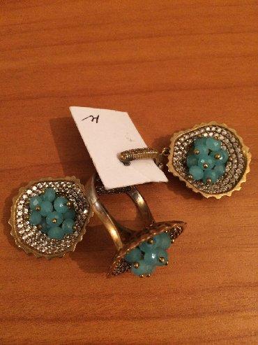 Серьги+ кольцо нов Турция серебро 925' с напылен вставка нат бирюза це