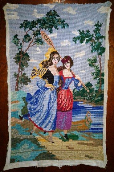 """Панно """"девушка с веслом"""". ручная работа (вышивка крестиком). в"""