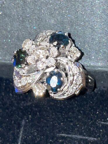 Ρούχα Γάμου & Αξεσουάρ - Ελλαδα: Δαχτυλίδι vintage λευκόχρυσο με διαμάντια και ζαφείρια τιμή εκτίμησης