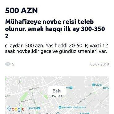 Bakı şəhərində Novbe reisi teleb olunur