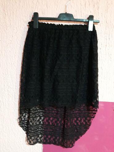 Suknje - Srbija: Elegantna suknja cipkana L velicine. Napred kraca a nazad je duza