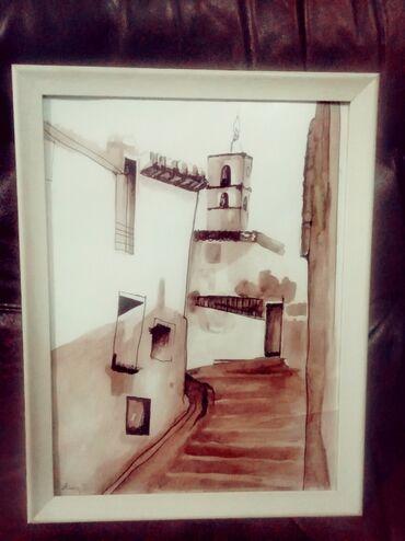 "Slika "" Tvrđava"" 30 x 40 cm Tehnika : akvarel"