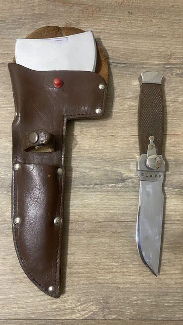 Коллекционные ножи - Кыргызстан: СОВЕТСКИЙ Охотничий универсальный нож + топорик, номерной, сделано в С