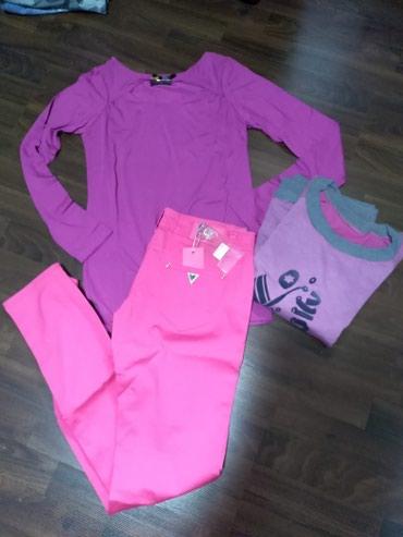 Paket nove ženske garderobe. Pantalone veličina 29, a majice su - Ruma