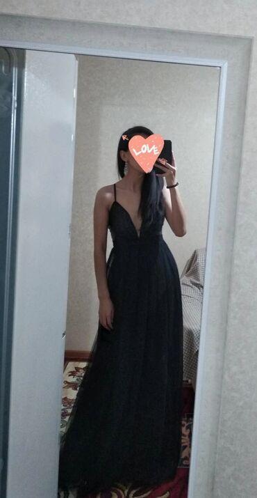 Вечернее платье в пол. Цвет черный. Размер 42. Турецкий 36-38. Вырез