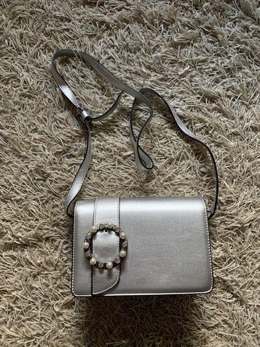 Srebrna ženska torbica (podesiv kaiš; nova)