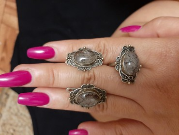 Роскошный серебряный комплект из дымчатого агата. Размер кольца 19 в Бишкек