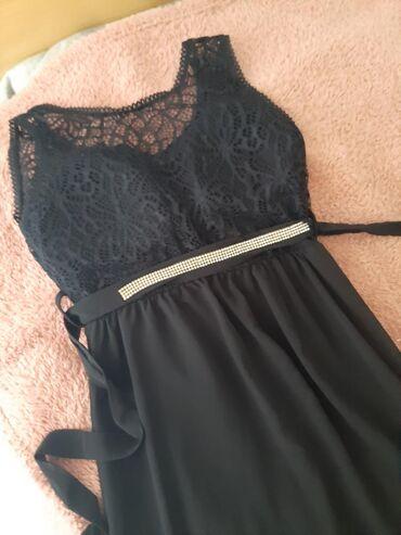 Ženska odeća   Sremska Kamenica: Svecana crna dugacka haljina S