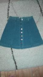 Teksas suknjica,nijednom obucena,mek teksas. Sirina struka 32cm,duzina - Pancevo