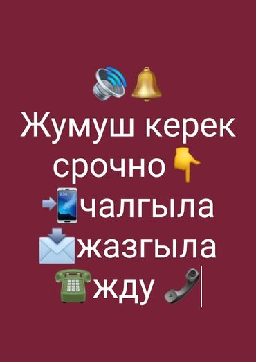 Другие специальности в Кыргызстан: Жумуш керек! Адал иш керек арам нерсени жазбагыла озунорго эле