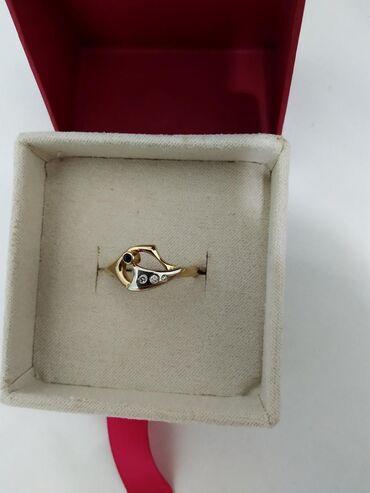 Бриллиант печатка - Кыргызстан: Кольцо с бриллиантами и сапфиром, жёлтое золото 585 пробы, Россия