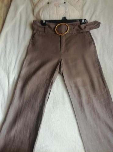 Bez pantalone broj - Srbija: Zara lanene pantalone.Broj 36.Boja braon bez .Jako su prijatneuske