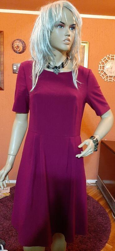 Prelepa ciklama deblja haljina sa faltama i dzepicima vel 40