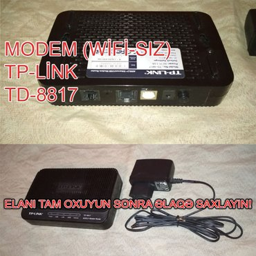 Modem TP-Link TD-8817. Wi-Fi-sızdır. Yəni ancaq qoşulan kompüteri в Баку