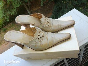 Kožne papuče, očuvane, br. 37, 10 cm štikla - Belgrade