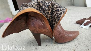 zhenskie sapogi so shnurovkoi в Азербайджан: Sapogi novie kojannie razmer 37,cena 60manat,pokupalos doroje