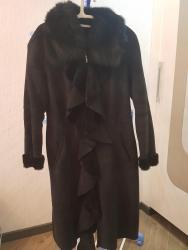 дублёнку женскую в Кыргызстан: Продаю стильную, эксклюзивную дубленку, размер 46-48, черная, воротник