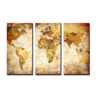 """Картины и фото в Кыргызстан: """"Карта мира"""" - модульная картина из 3-х частей. печать на холсте. Деко"""