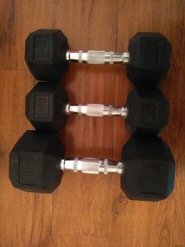 Спорт и хобби - Дачное (ГЭС-5): Гантели прорезиненные 10 кг(1шт) и 5 кг( 2 шт) + ролик в подарок