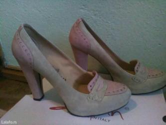 Zenske krem puder roze oksford cipele stikle br. 39 - Beograd