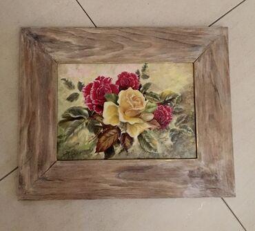 Панно «Розы в раме», размер выполнено в технике имитации масляной