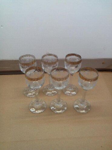 Стаканы - Кыргызстан: Рюмки на ножке с позолотой,6 штук,СССР,чешское стекло