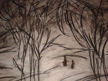 туалетная бумага в Азербайджан: Распродажа авторских картин : бумага уголь,Зимняя прогулка,,(уже со